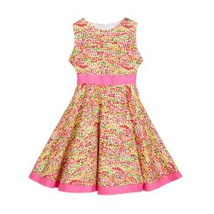 Susanne Lively Girl's Pebble Print Twirl Dress w/ Solid Trim, Size 4-6X  - PINK - Gender: female - Size: 4