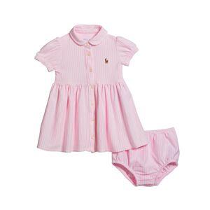 Ralph Lauren Yarn-Dyed Oxford Mesh Stripe Dress w/ Matching Bloomers, Size 6-24 Months  - PINK - Gender: female - Size: 18 Months
