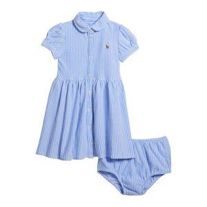 Ralph Lauren Yarn-Dyed Oxford Mesh Stripe Dress w/ Matching Bloomers, Size 6-24 Months  - BLUE - Gender: female - Size: 24 Months