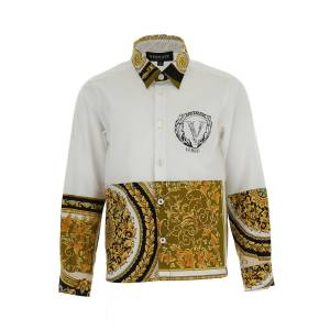 Versace Boy's Baroque Logo Button-Down Shirt, Size 8-14 - Size: 8