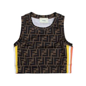 Fendi Girl's Racer Stripe Logo Sleeveless Crop Top, Size 4-6 - Size: 6