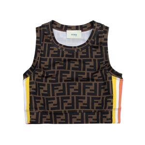 Fendi Girl's Racer Stripe Logo Sleeveless Crop Top, Size 4-6 - Size: 4