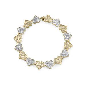 "Sydney Evan Two-Tone 14k Gold Diamond Heart Eternity Bracelet, 6.5"""