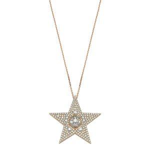 BeeGoddess Sirius Star 14k Diamond Large Pendant Necklace
