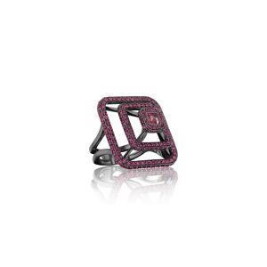 Mimi So Piece Oxidized 18k Ruby Pyramid Ring, Size 6.5