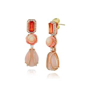 Alexander Laut 18k Rose Gold Sapphire, Coral and Pink Opal Earrings with Diamonds