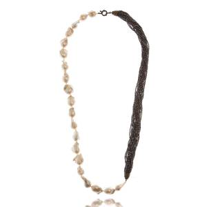 """M.C.L. by Matthew Campbell Laurenza Half Baroque Pearl & Spinel Necklace, 34""""L"""