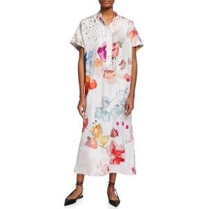 Agnona Watercolor Floral-Print Silk Caftan - Size: 40 IT (4 US)