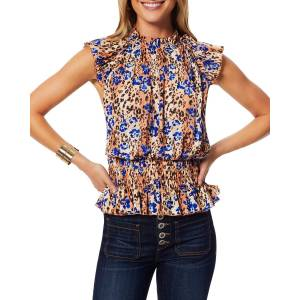 Ramy Brook Amelia Floral Leopard-Print High-Neck Tank Top - Size: Small