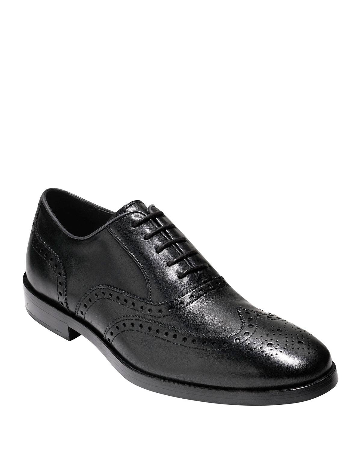 Cole Haan Hamilton Grand Wing-Tip Oxford, Black - Size: 7.5D