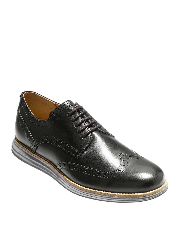 Cole Haan Men's Original Grand Leather Wing-Tip Oxford, Black - Size: 8.5D