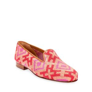 Stubbs and Wootton Harlow Needlepoint Smoking Loafers  - SALMON - Size: 9B