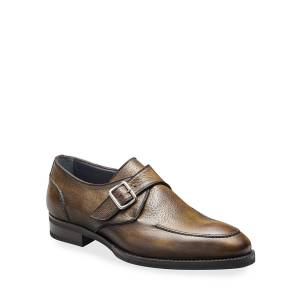 di Bianco Men's Pecari Zenzero Single-Monk Leather Shoes - Size: 9D