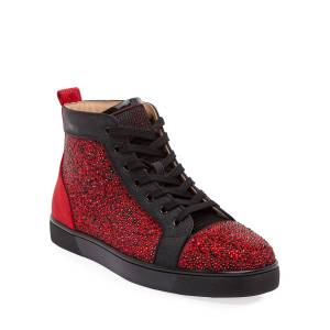 Christian Louboutin Men's Louis Orlato Embellished High-Top Sneakers  - RED/BLACK - Gender: male - Size: 43 EU (10D US)