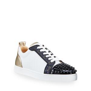 Christian Louboutin Men's Louis Junior Spikes Orlato Metallic Art Deco Sneakers - Size: 50 EU (17D US)