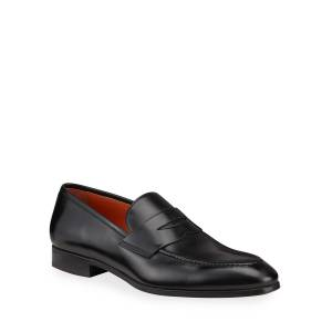 Santoni Men's Leather Penny Loafers, Black - Size: 13D