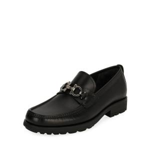Salvatore Ferragamo Men's Leather Lug-Sole Loafer, Black - Size: 6D