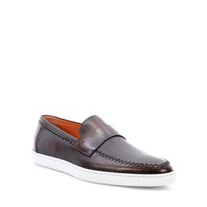 Santoni Men's Banker Stitch-Trim Leather Loafers - Size: 9.5D