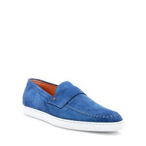 Santoni Men's Banker Stitch-Trim Suede Loafers - Size: 7D