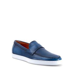 Santoni Men's Banker Stitched Leather Loafers, Light Blue - Size: 10D