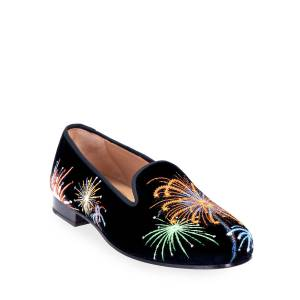 Stubbs and Wootton Fireworks Embroidered Velvet Smoking Loafers  - BLACK - Size: 7B