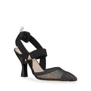 Fendi Colibri 85mm FF Mesh Slingback Pumps  - BLACK - Gender: female - Size: 6.5B / 36.5EU