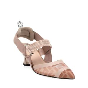 Fendi Colibri 55mm FF Mesh Slingback Pumps  - BEIGE - Gender: female - Size: 5.5B / 35.5EU