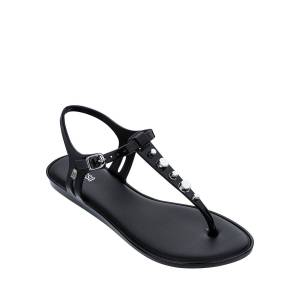 Melissa Shoes Solar Studded Jelly Thong Sandals  - BLACK - Size: 8B