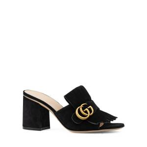 Gucci 75mm Marmont Suede Slide