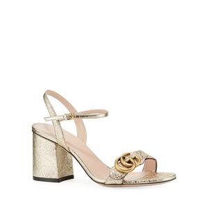 Gucci 75mm Marmont Metallic Sandal