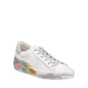 Golden Goose May Sparkle Floral Painted Low-Top Sneakers - Size: 5B / 35EU