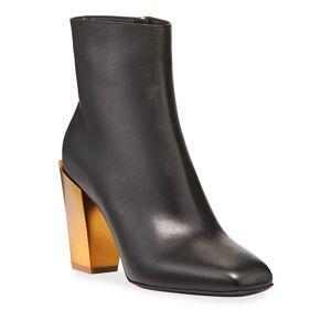 Salvatore Ferragamo Teti Leather Booties with Golden Heel