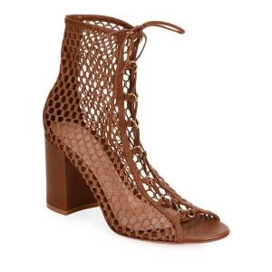 Gianvito Rossi Fishnet Lace-Up Booties  - BROWN - Gender: female - Size: 7.5B / 37.5EU