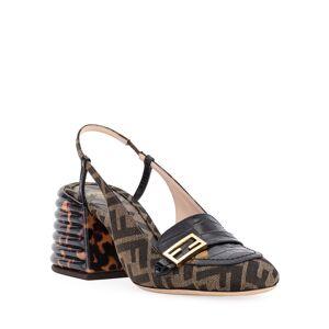 Fendi FF Slingback Loafer Pumps  - BROWN - Gender: female - Size: 8.5B / 38.5EU