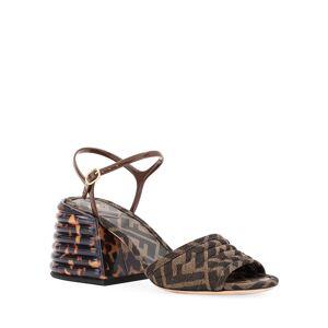 Fendi FF Block-Heel Sandals  - BROWN - Gender: female - Size: 7.5B / 37.5EU