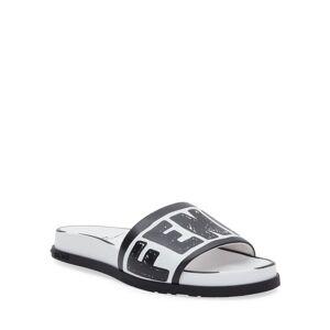 Fendi Logo Pool Flat Slide Sandals  - WHITE - Gender: female - Size: 5B / 35EU