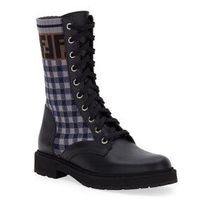 Fendi FF Gingham Sock Hiker Combat Boots  - BLACK - Gender: female - Size: 8.5B / 38.5EU