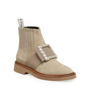 Roger Vivier Viv' Rangers Suede Chelsea Booties with Crystal Buckle  - LT BROWN - Gender: female - Size: 8.5B / 38.5EU
