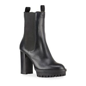 Gianvito Rossi Gored Leather Lug-Sole Platform Boots - Size: 5B / 35EU