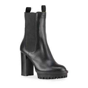 Gianvito Rossi Gored Leather Lug-Sole Platform Boots - Size: 10B / 40EU