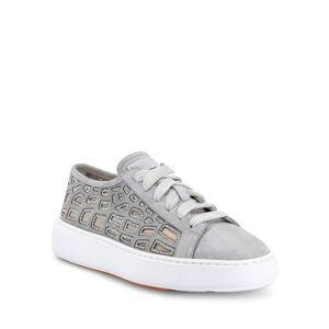 Santoni Apostle Embellished See-Through Cutout Suede Sneakers - Size: 6B / 36EU