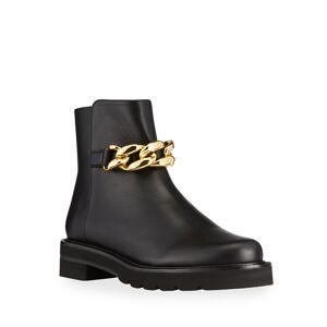 Stuart Weitzman Leather Chain Ankle Booties  - BLACK - Gender: female - Size: 7B / 37EU