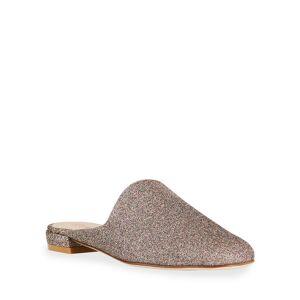 Stuart Weitzman Mulearky Glitter Flat Slide Mules - Size: 7.5B / 37.5EU