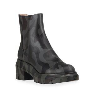 Stuart Weitzman Norah Camo-Print Leather Chelsea Boots - Size: 5.5C / 35.5EU