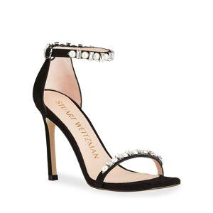 Stuart Weitzman Amelina Shine Pearly Crystal Stiletto Sandals - Size: 8.5B / 38.5EU