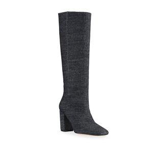 Stuart Weitzman Carita Denim Block-Heel Tall Boots - Size: 7B / 37EU