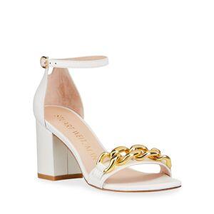 Stuart Weitzman Amelina Golden Chain Block-Heel Sandals - Size: 9.5B / 39.5EU