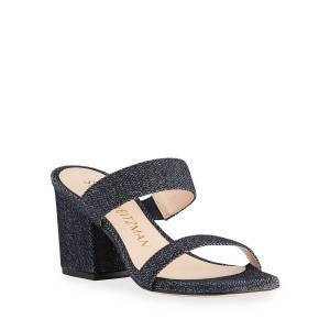 Stuart Weitzman Olive 75mm Denim Slide Sandals - Size: 5B / 35EU