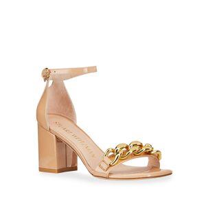 Stuart Weitzman Amelina Golden Chain Patent Block-Heel Sandals - Size: 11B / 41EU