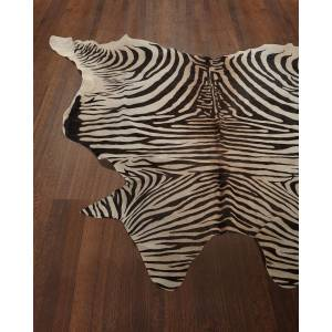 NourCouture Lux Zebra-Print Hairhide Rug, 6' x 7'